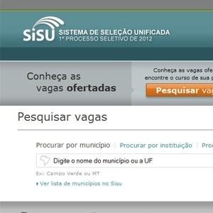 Tela de pesquisa de vagas no site do Sisu 2012