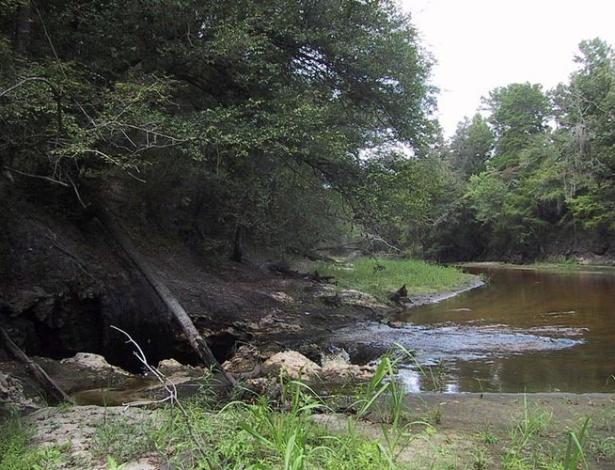 Nem sempre a água entra pelo cano. Muitas vezes, entra por um buraco na superfície da Terra, como se vê na foto do rio Alapaha, no Estado norte-americano da Flórida, para formar o aquifero homônimo. Por falar nisso, você sabia que o maior aquifero da America do Sul fica basicamente no Brasil?