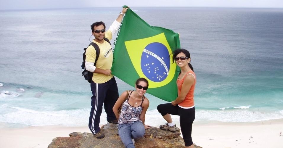 Regina Junko e amigos no Cabo da Boa Esperança, extremo sul da África do Sul