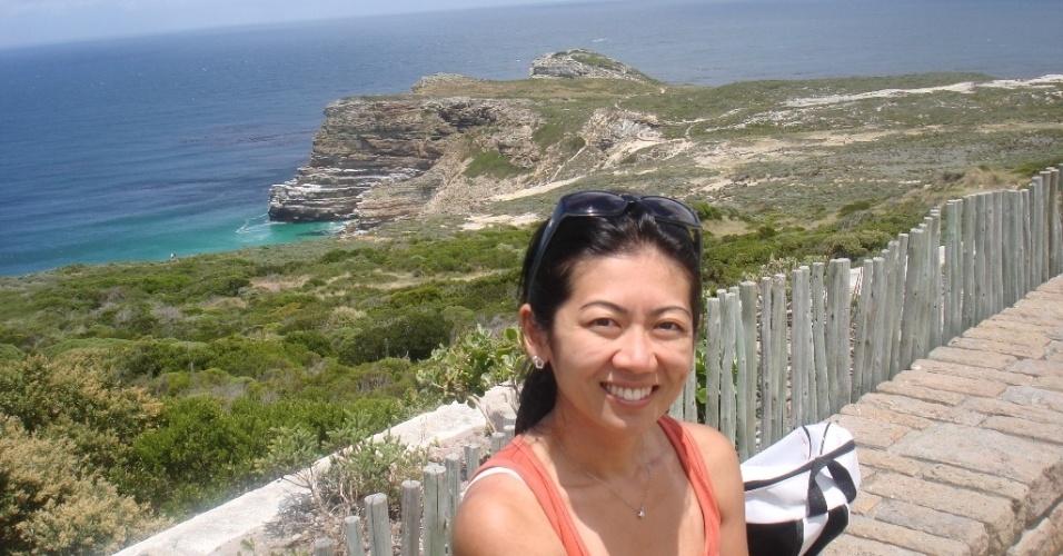 Regina Junko no Cabo da Boa Esperança, extremo sul da África do Sul