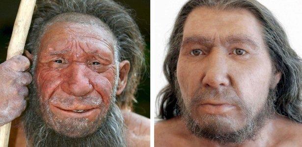 Reconstruções de dois homens de Neandertal, espécie-irmã da humana que habitou a Europa até 28 mil anos atrás