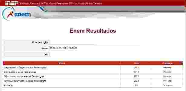 Mesmo deixando prova em branco, candidata tirou mais que pontuação mínima no Enem - Reprodução