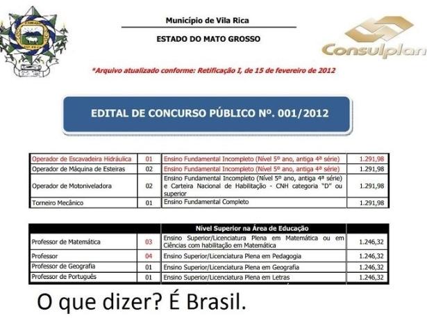 Montagem feita com o edital do concurso público da prefeitura de Vila Rica (MT) e publicada no Facebook