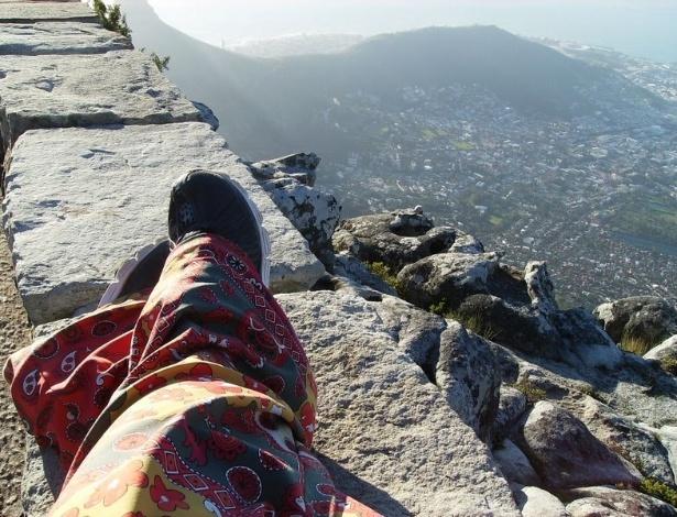 Juliana Martins na Table Montain (montanha mesa), um dos mais simbólicos cartões-postais na África do Sul