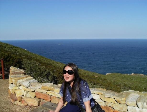 Juliana Martins no Cabo da Boa Esperança, extremo sul da África do Sul